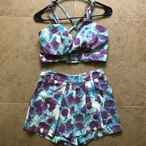 Purple and blue flower two piece set